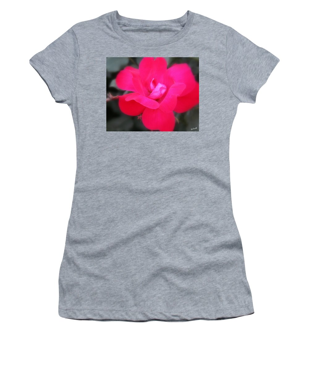 Rosa Roja Women's T-Shirt featuring the photograph Rosa Roja by Edward Smith