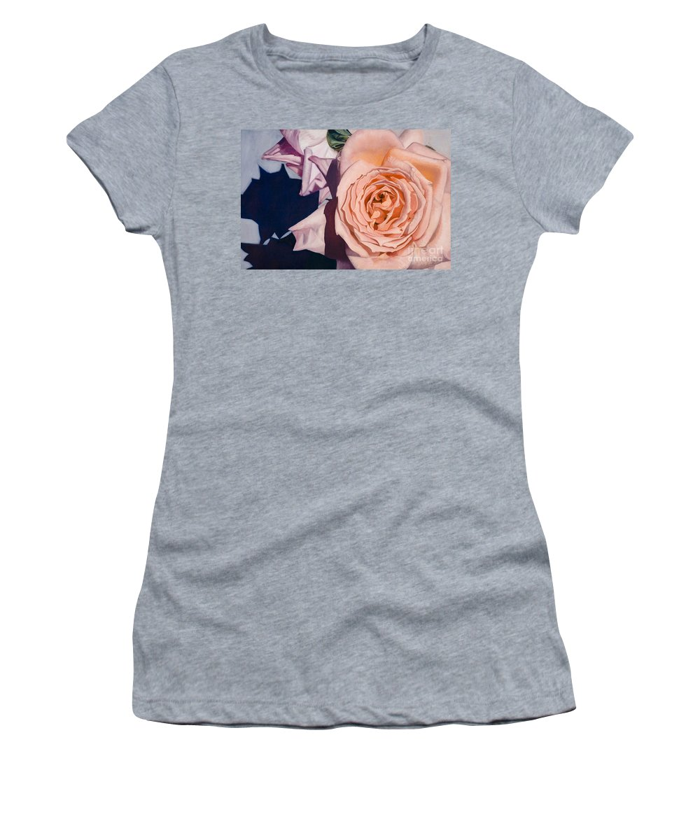 Roses Women's T-Shirt featuring the painting Rose Splendour by Kerryn Madsen-Pietsch