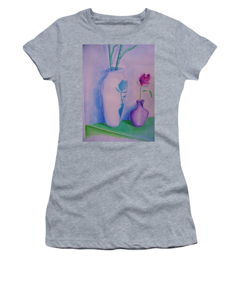 Red Rose Women's T-Shirt (Athletic Fit) featuring the painting Roses In Vase by Eric Schiabor