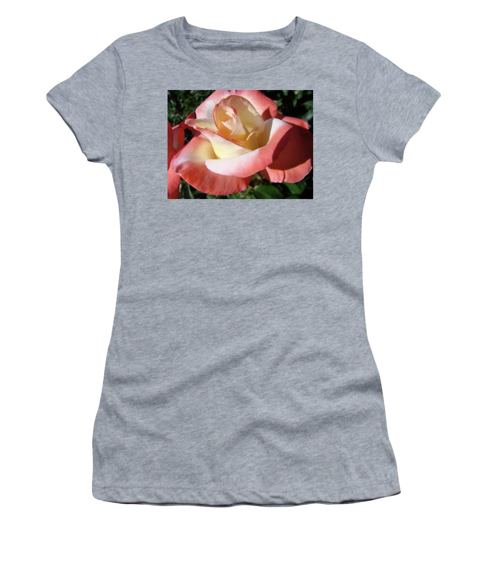 Rose Women's T-Shirt (Athletic Fit) featuring the photograph Roses Pink Creamy White Rose Garden 5 Fine Art Prints Baslee Troutman by Baslee Troutman