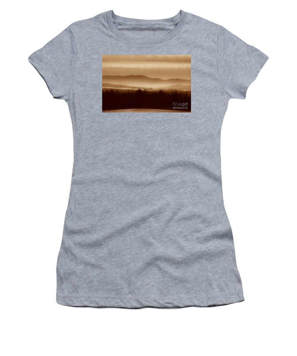 Landscape Women's T-Shirt featuring the photograph Route 120 Vermont View by Deborah Benoit
