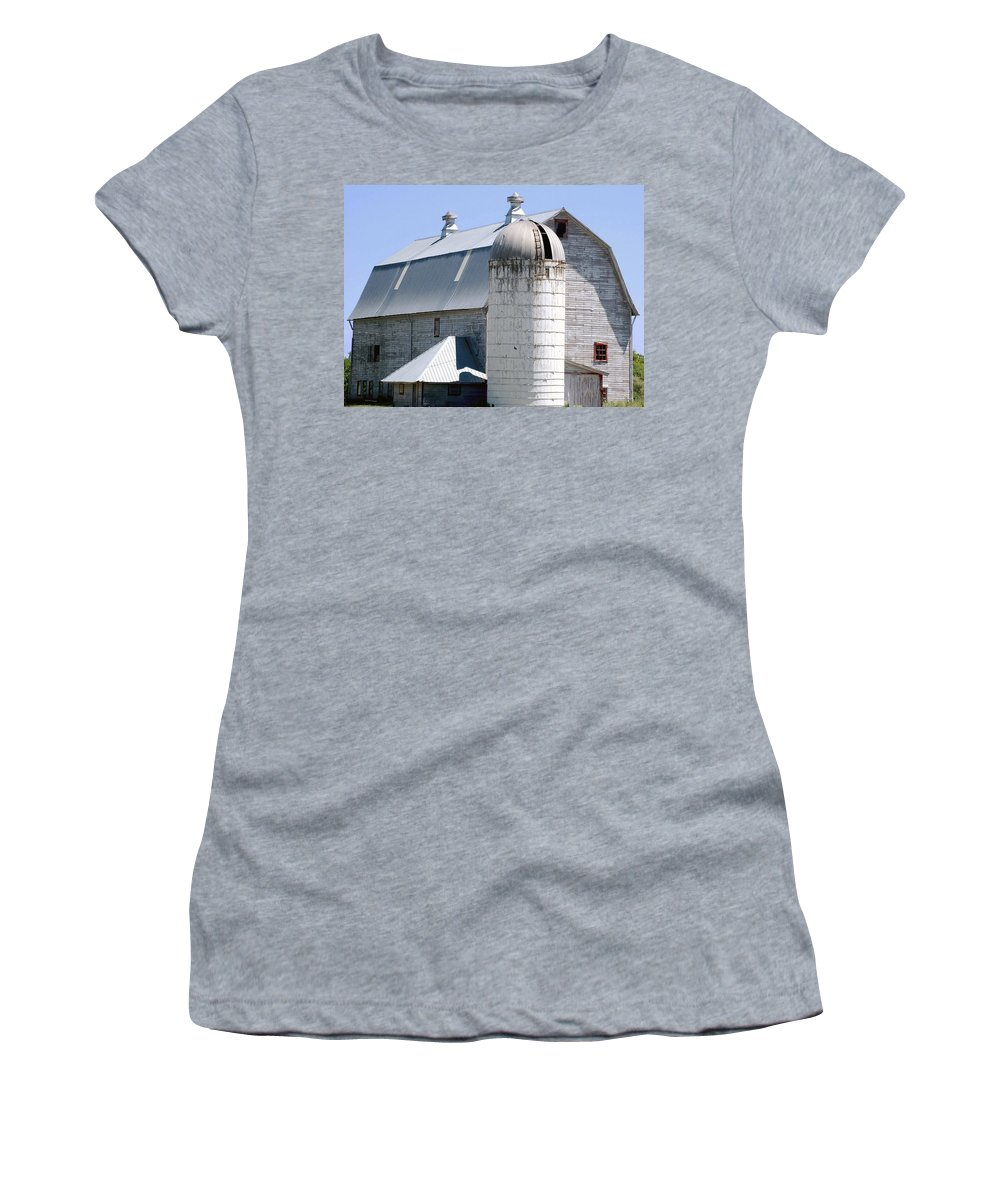 Route Women's T-Shirt (Athletic Fit) featuring the digital art Route 81 Barn by DigiArt Diaries by Vicky B Fuller
