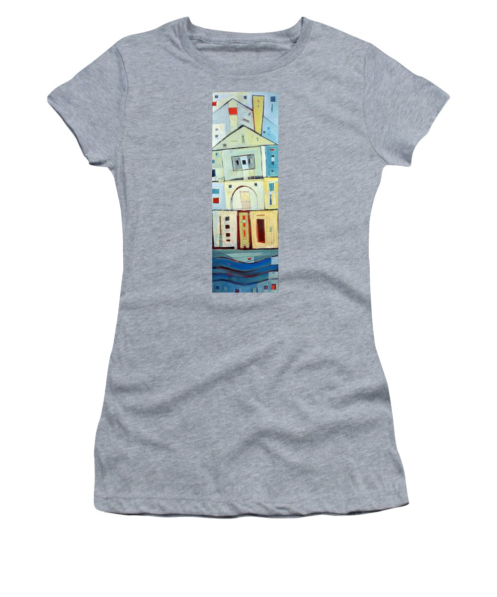 House Women's T-Shirt featuring the painting Rowhouse No. 3 by Tim Nyberg