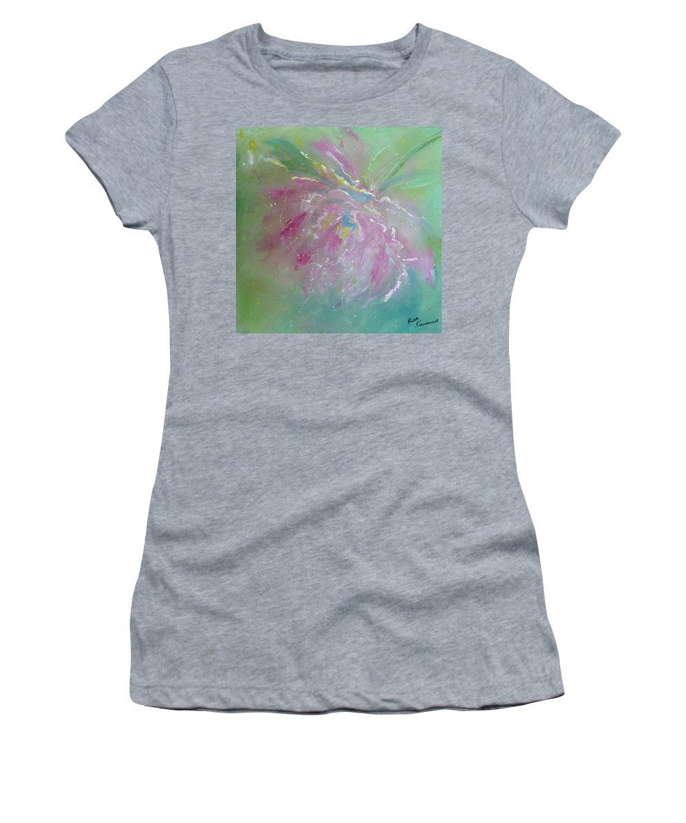 Peony Women's T-Shirt (Athletic Fit) featuring the painting Ruby Red Peony by Ruth Kamenev
