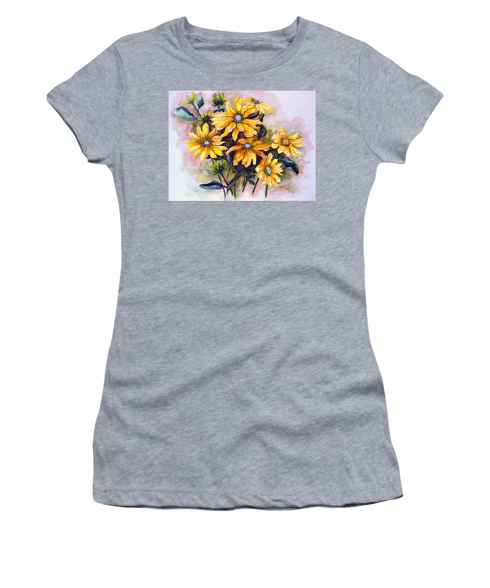 Flower Painting Sun Flower Painting Flower Botanical Painting  Original Watercolor Painting Rudebeckia Painting Floral Painting Yellow Painting Greeting Card Painting Women's T-Shirt featuring the painting RUDBECKIA Prairie Sun by Karin Dawn Kelshall- Best