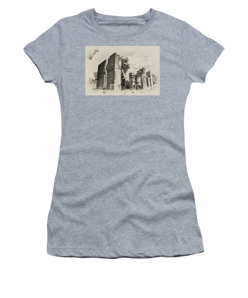 Jamestown Women's T-Shirt (Athletic Fit) featuring the photograph Ruins At Jamestown by Bill Cannon