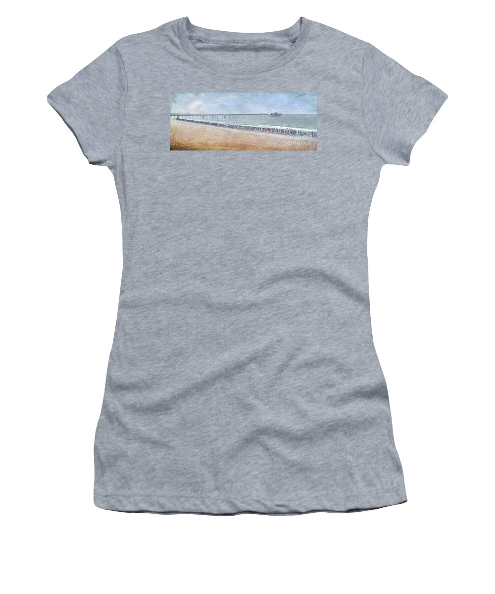 Runners On The Beach Panorama Women's T-Shirt (Athletic Fit) featuring the photograph Runners On The Beach Panorama by David Zanzinger