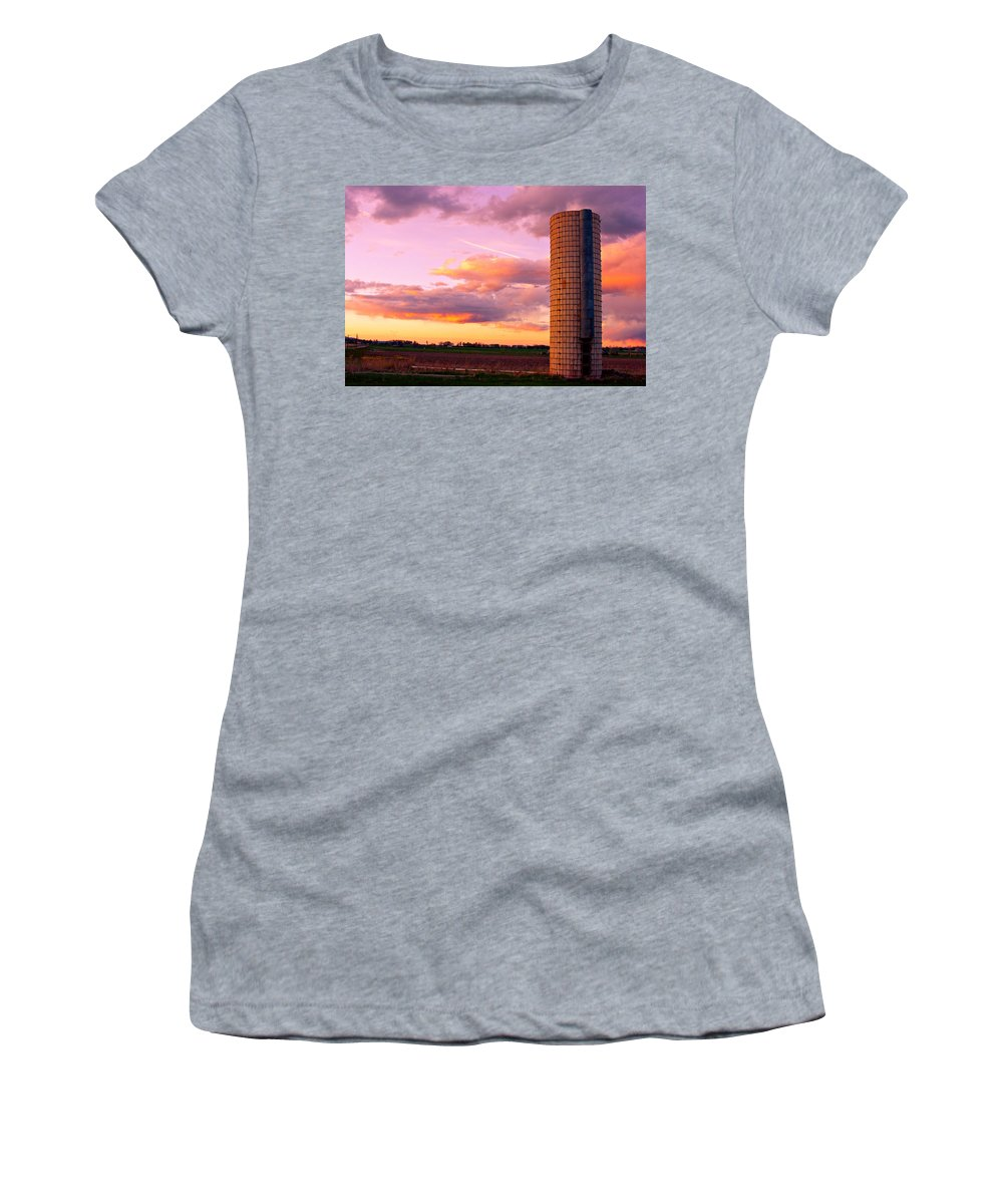 Sunrise Women's T-Shirt (Athletic Fit) featuring the photograph Rural Boulder County Sunset by James BO Insogna