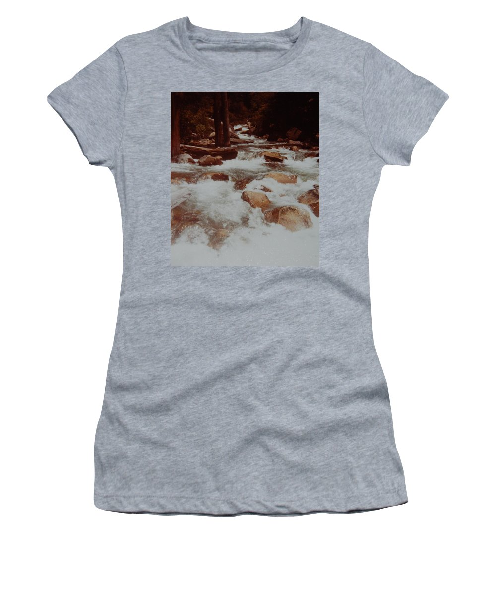 Water Women's T-Shirt (Athletic Fit) featuring the photograph Rushing Water by Rob Hans