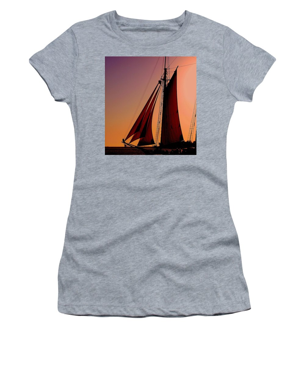 Sailing Women's T-Shirt (Athletic Fit) featuring the photograph Sail At Sunset by Susanne Van Hulst