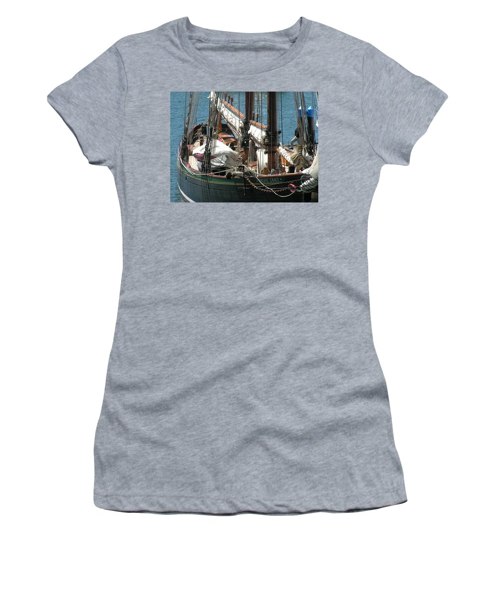 Boat Women's T-Shirt (Athletic Fit) featuring the photograph Sail Boat by Diane Greco-Lesser