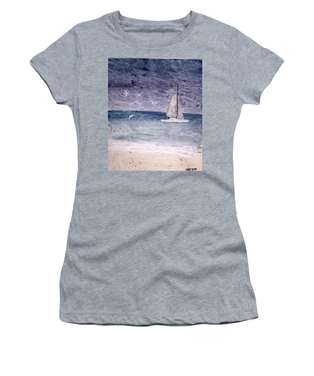 Watercolor Seascape Sailing Boat Landscape Painting Women's T-Shirt featuring the painting SAILING AT NIGHT nautical painting print by Derek Mccrea