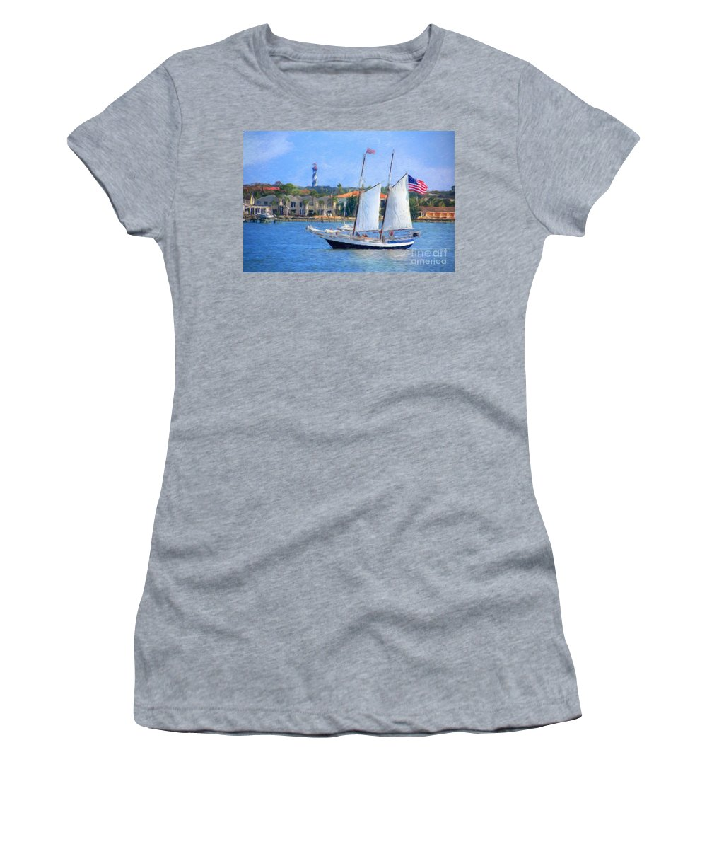 Sail Women's T-Shirt (Athletic Fit) featuring the photograph Sailing In St. Augustine by Susan Grube