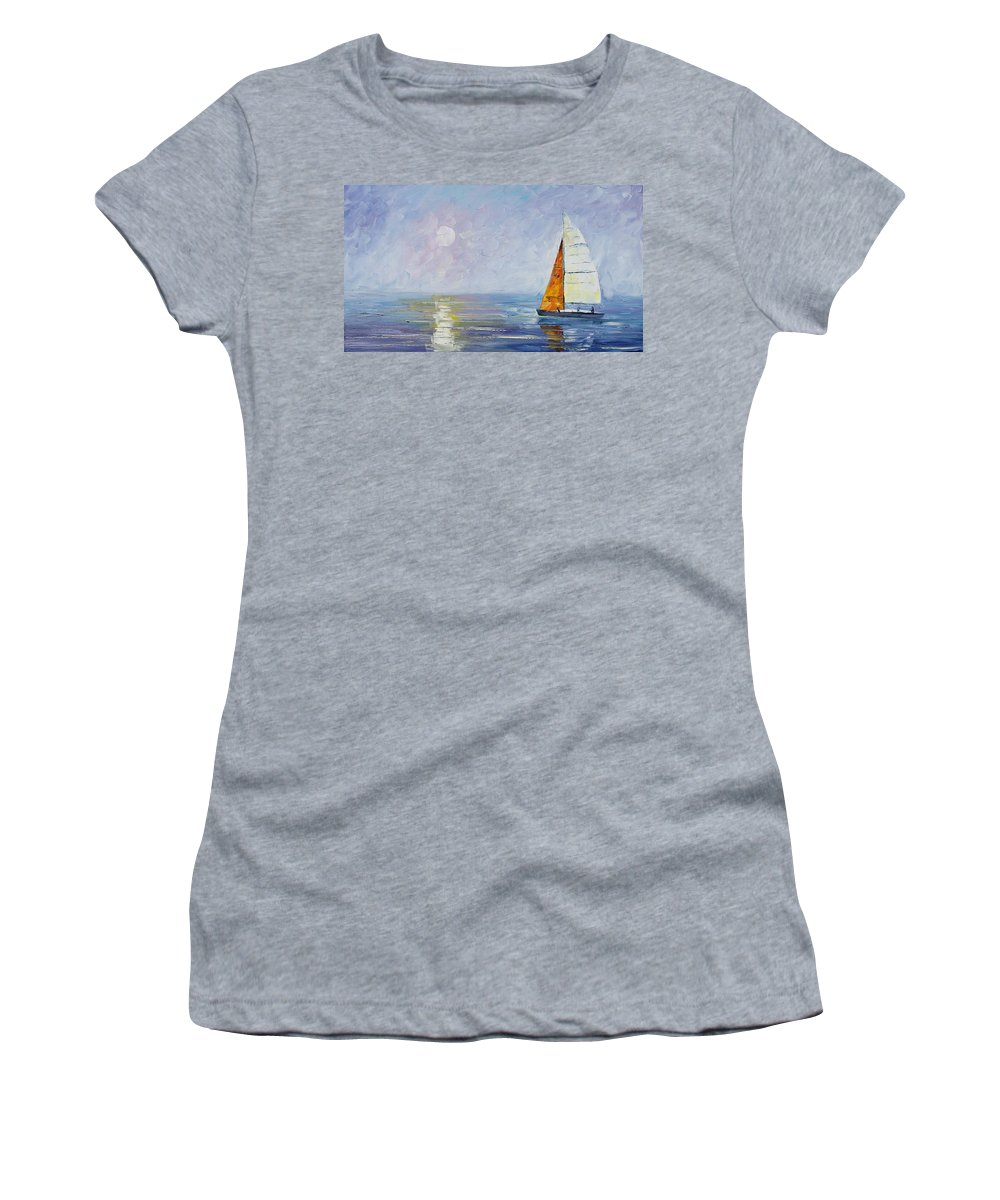 Yahct Women's T-Shirt (Athletic Fit) featuring the painting Sailing by Leonid Afremov
