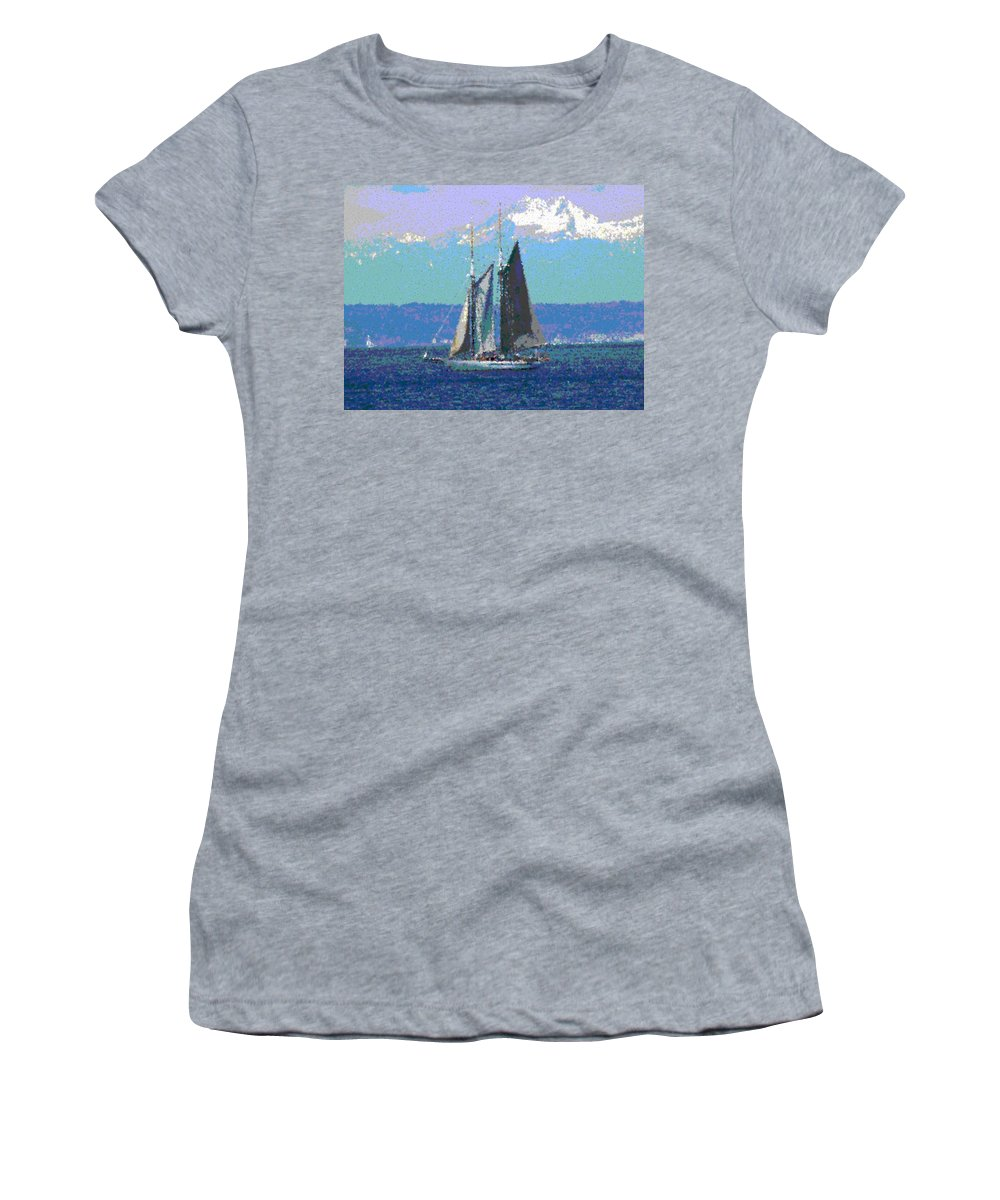 Sail Women's T-Shirt (Athletic Fit) featuring the digital art Sailors Delight by Tim Allen