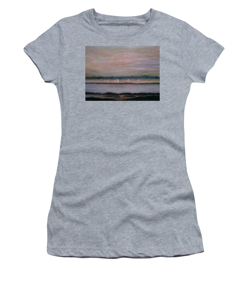 Sailboats; Marsh; Sunset Women's T-Shirt (Athletic Fit) featuring the painting Sails In The Sunset by Ben Kiger