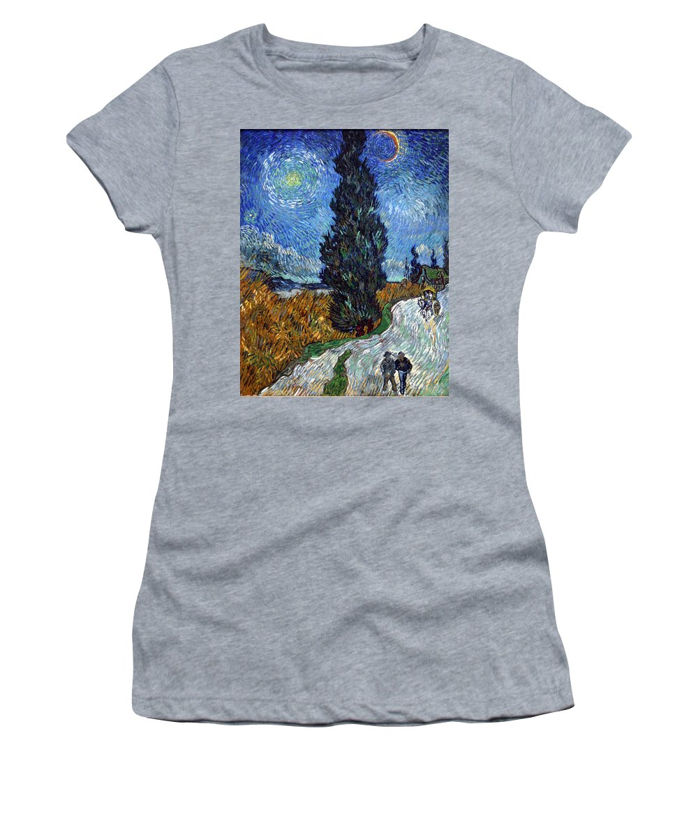 Vincent Van Gogh Women's T-Shirt featuring the painting Saint-remy Road With Cypress And Star by Vincent Van Gogh