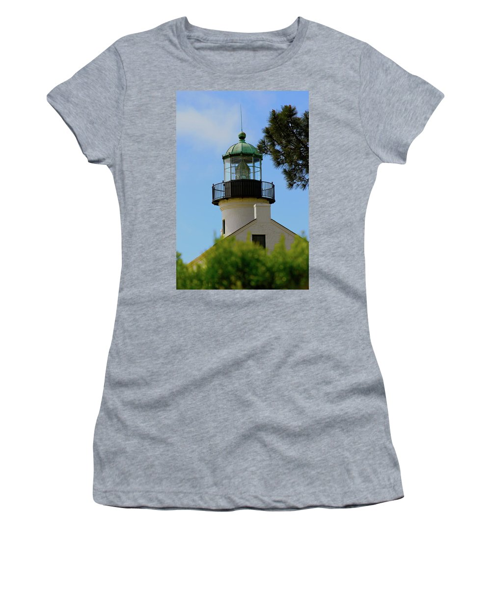 Lighthouse Women's T-Shirt (Athletic Fit) featuring the photograph San Diego Skies by Laddie Halupa
