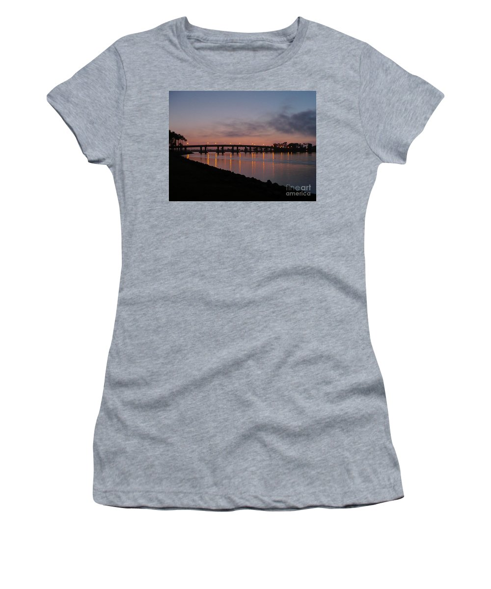 San Diego Women's T-Shirt (Athletic Fit) featuring the photograph San Diego Sunset 1 by Carol Groenen