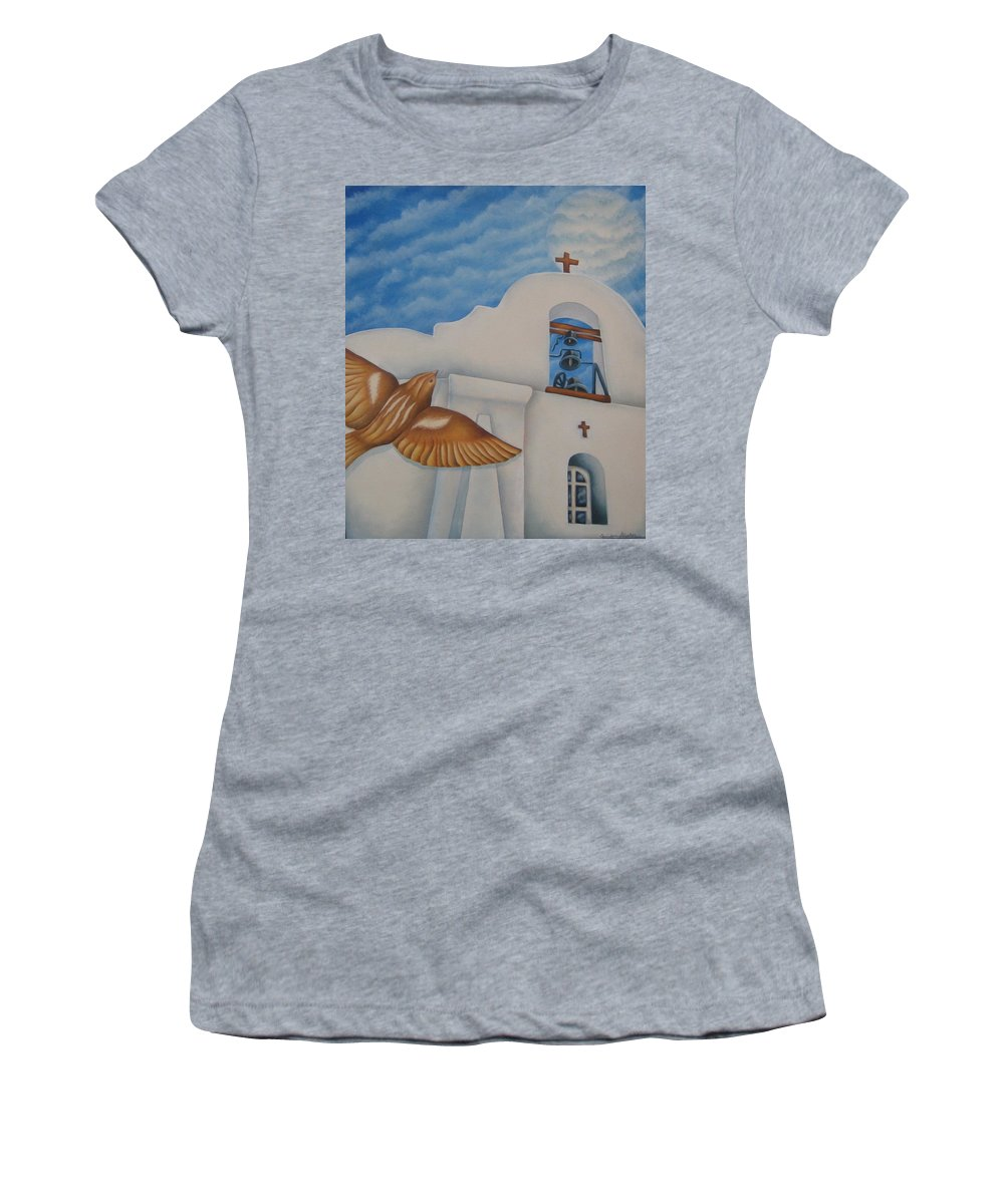 Sparrow Women's T-Shirt featuring the painting San Elizario On A Moonlit Morning by Jeniffer Stapher-Thomas