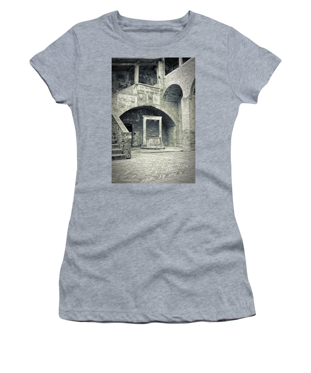 Ancient Women's T-Shirt (Athletic Fit) featuring the photograph San Gimignano - Medieval Well by Silvia Ganora