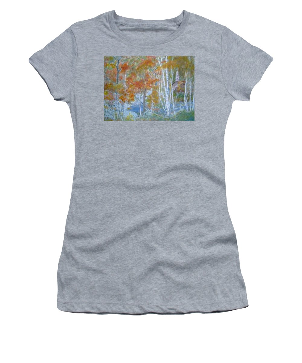 Church; Landscape; Birch Trees Women's T-Shirt (Athletic Fit) featuring the painting Sanctuary by Ben Kiger