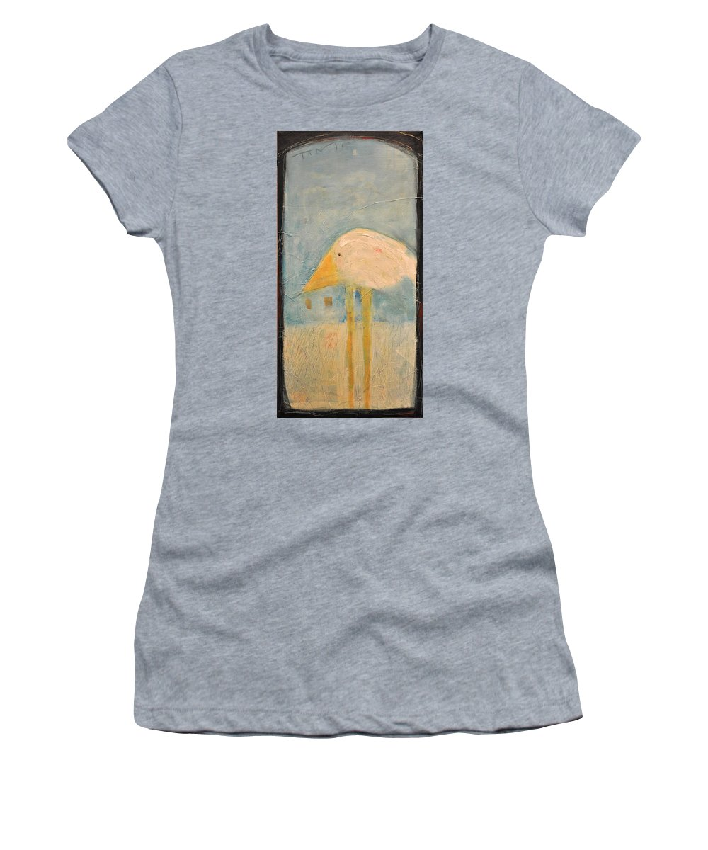 Humor Women's T-Shirt (Athletic Fit) featuring the painting Sanctuary Bird by Tim Nyberg
