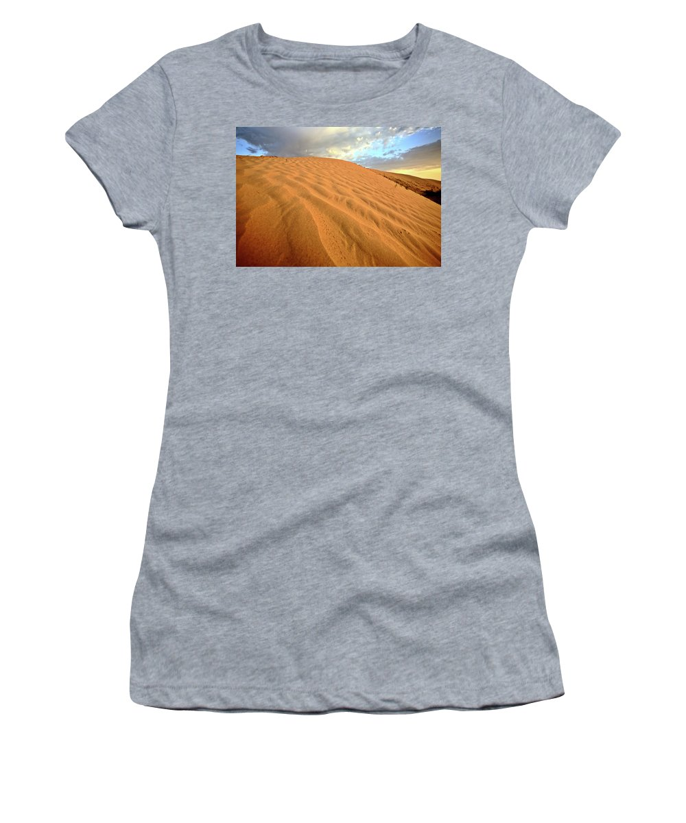 Sand Dune Women's T-Shirt featuring the digital art Sand Dune At Great Sand Hills In Scenic Saskatchewan by Mark Duffy