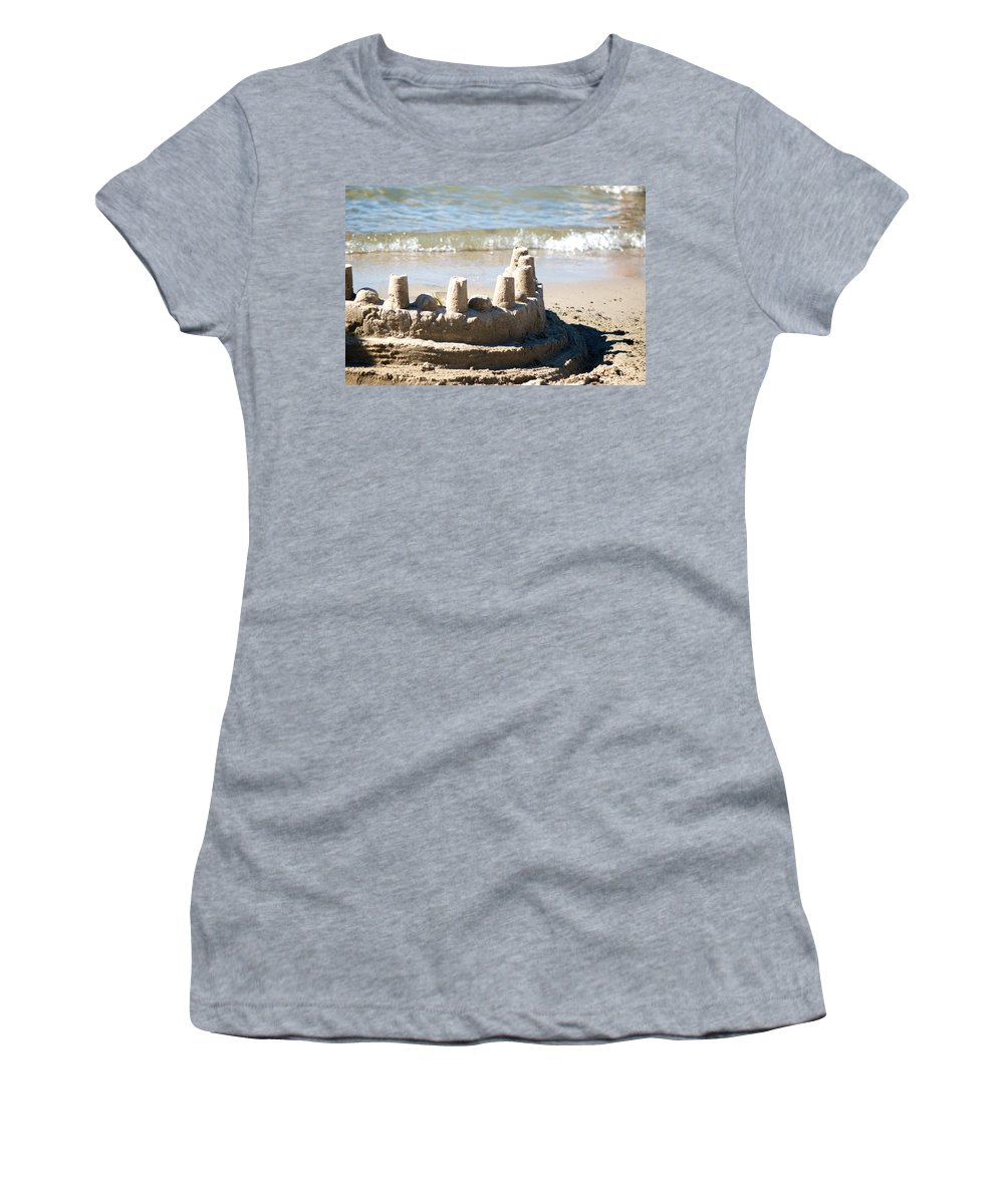 Sand Women's T-Shirt (Athletic Fit) featuring the photograph Sandcastle by Lisa Knechtel