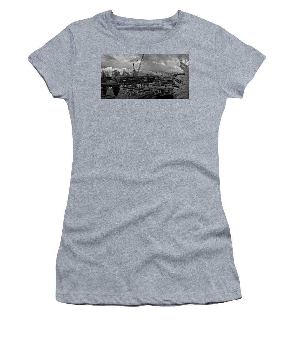 Infrared Women's T-Shirt (Athletic Fit) featuring the photograph Sandpoint Marina And Byway by Lee Santa
