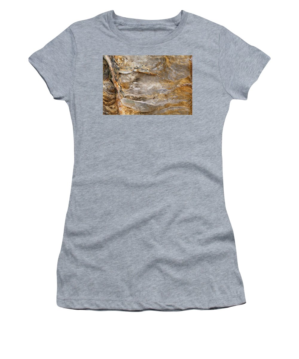 Starved Women's T-Shirt (Athletic Fit) featuring the photograph Sandstone Formation Number 2 At Starved Rock State by Steve Gadomski