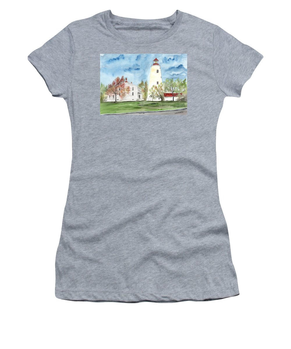 Watercolor Women's T-Shirt (Athletic Fit) featuring the painting Sandy Hook Lighthouse by Derek Mccrea