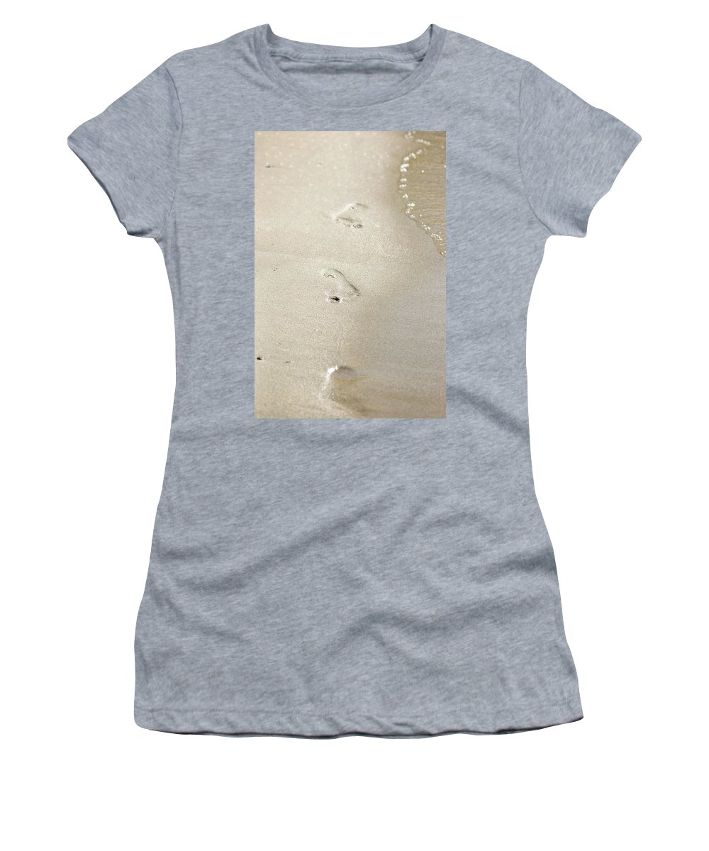 Beach Women's T-Shirt (Athletic Fit) featuring the photograph Sandy Steps by Lisa Knechtel