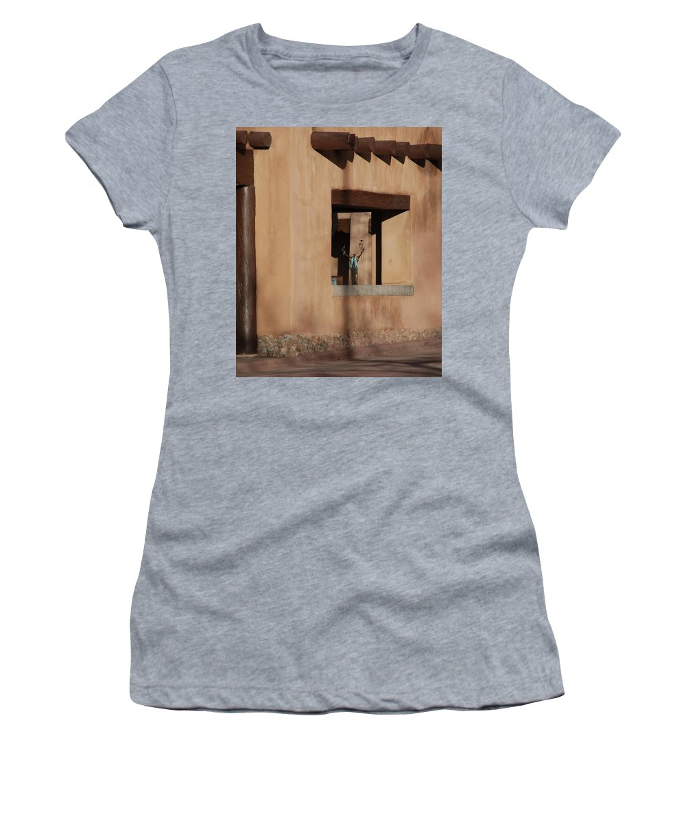 Santa Fe Women's T-Shirt (Athletic Fit) featuring the photograph Santa Fe Adobe Window by Rob Hans