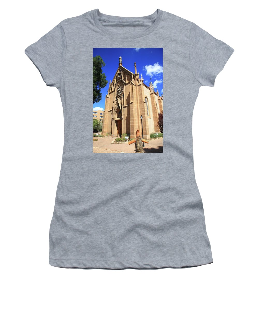 Fine Women's T-Shirt (Athletic Fit) featuring the photograph Santa Fe Church by Frank Romeo