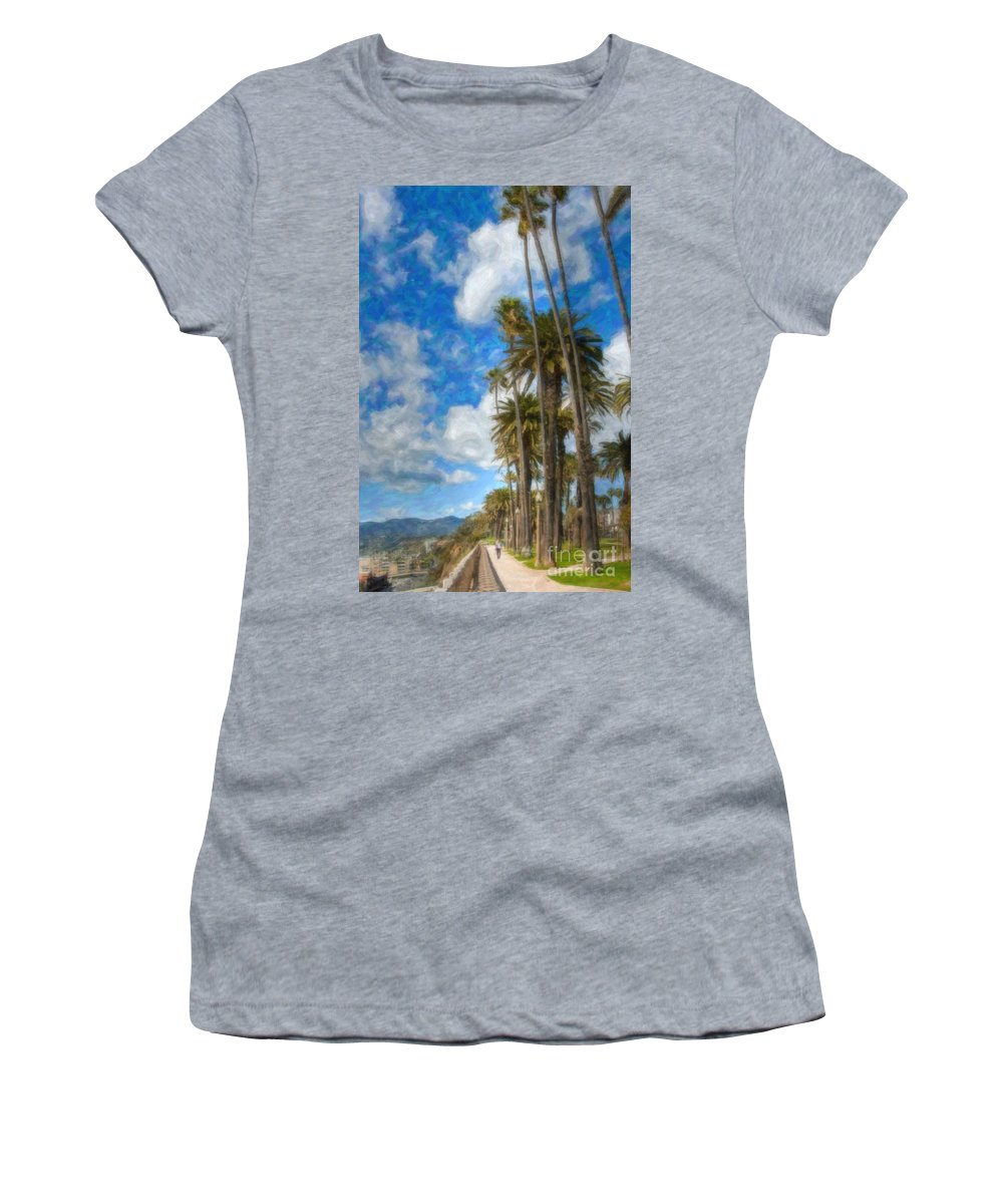 Looking North Women's T-Shirt (Athletic Fit) featuring the photograph Santa Monica Ca Palisades Park Bluffs Palm Trees by David Zanzinger