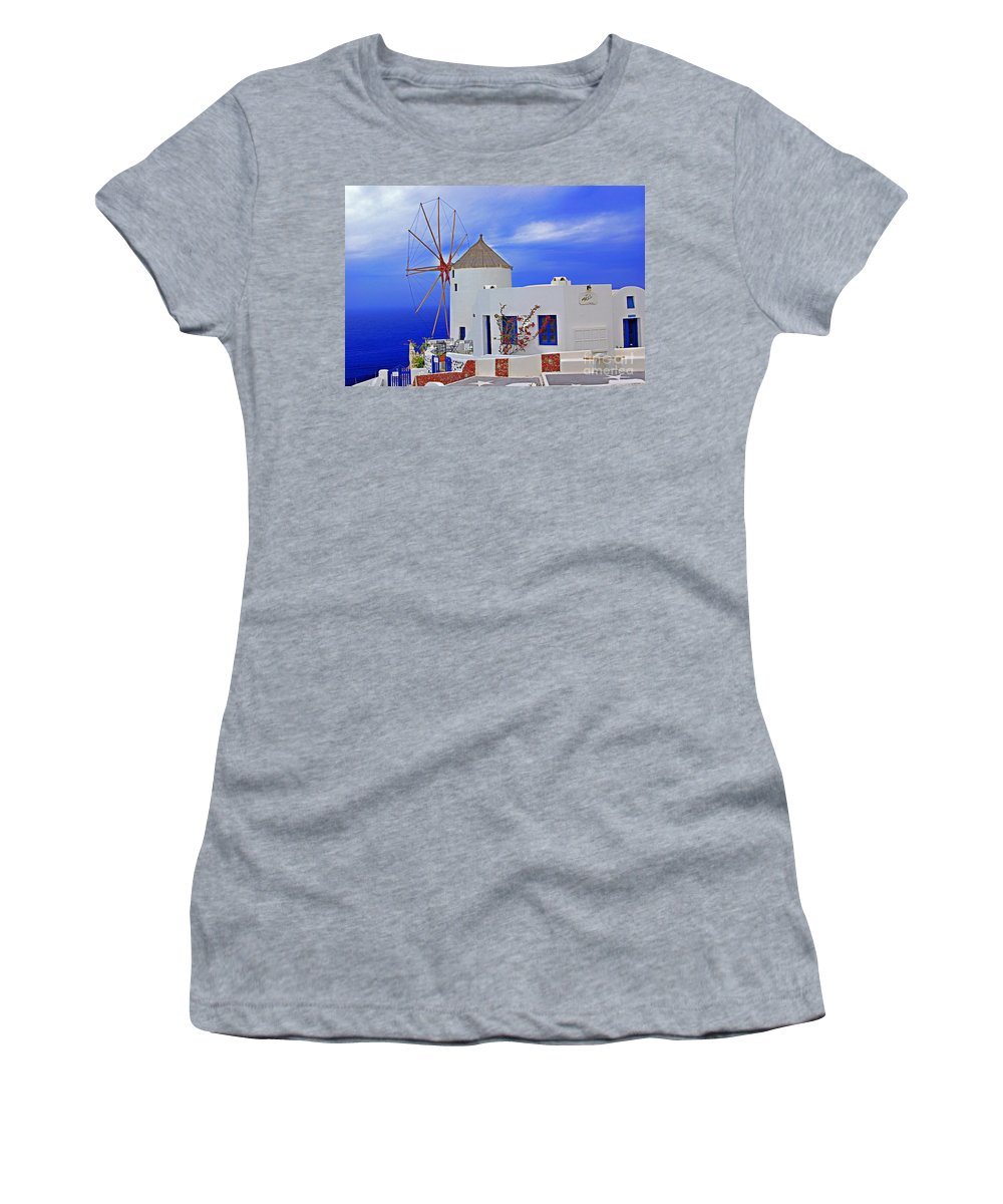 Greece Women's T-Shirt (Athletic Fit) featuring the photograph Santorini Windmills by Rich Walter
