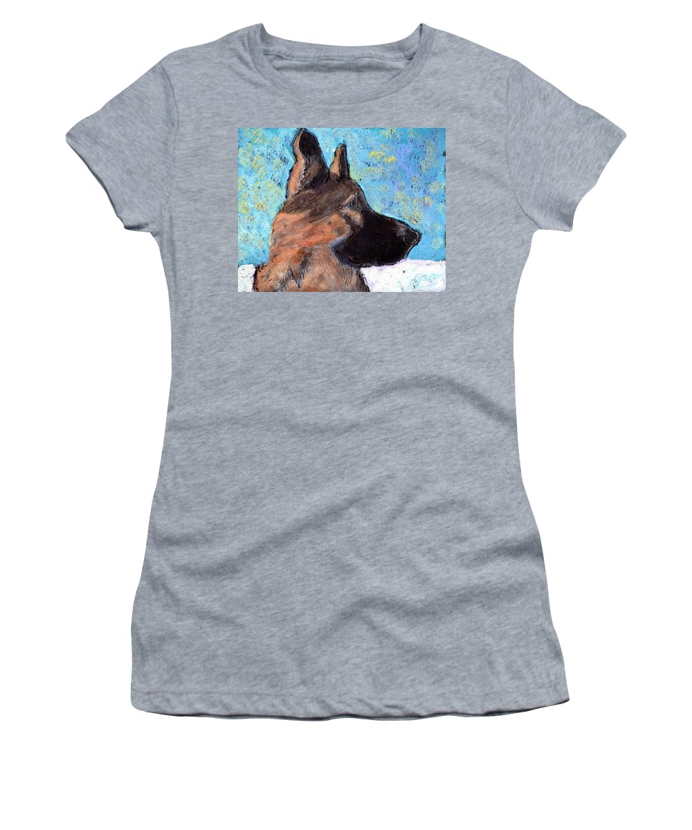 Dog Women's T-Shirt (Athletic Fit) featuring the painting Sarge II by Wayne Potrafka