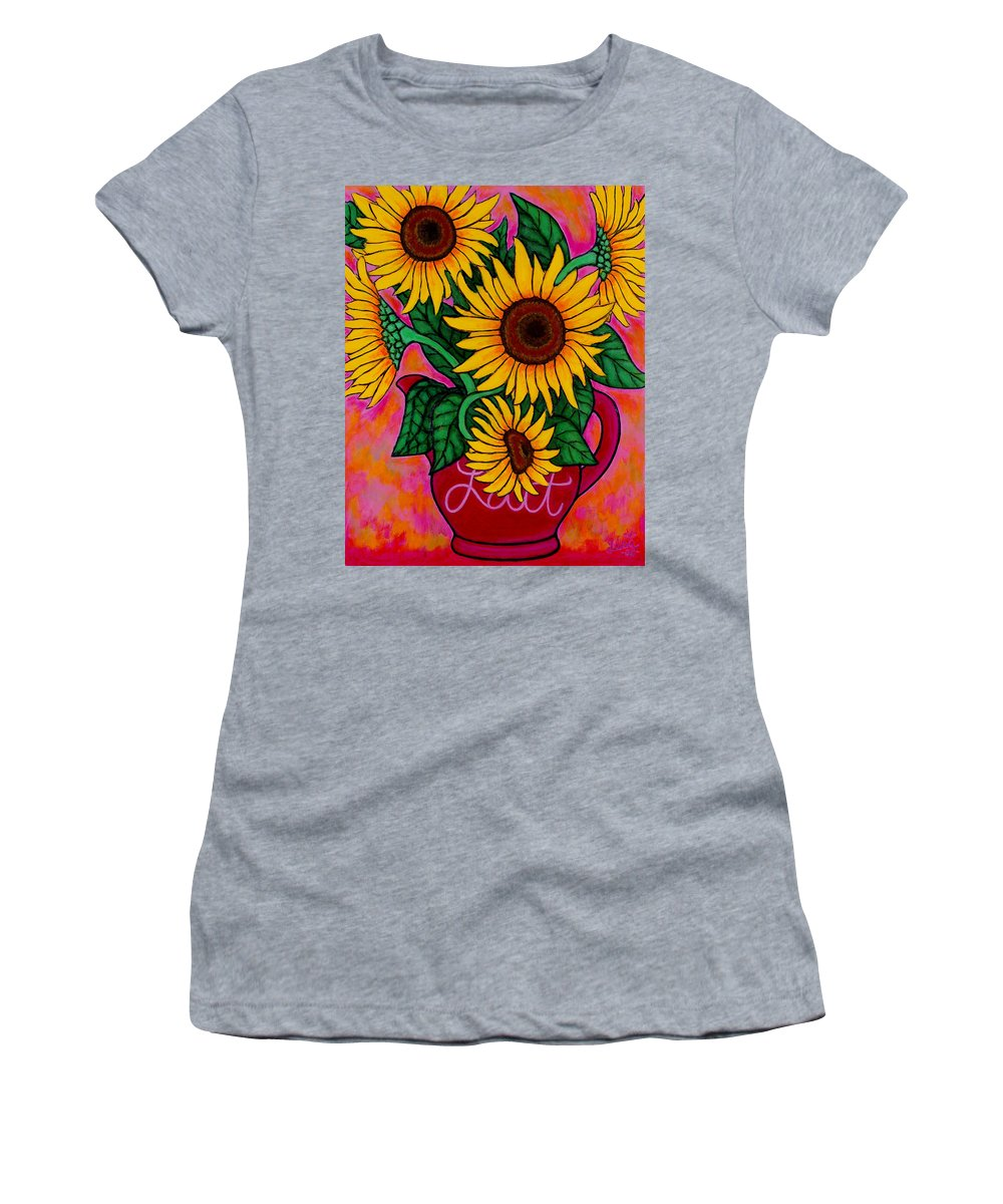 Sunflowers Women's T-Shirt (Athletic Fit) featuring the painting Saturday Morning Sunflowers by Lisa Lorenz
