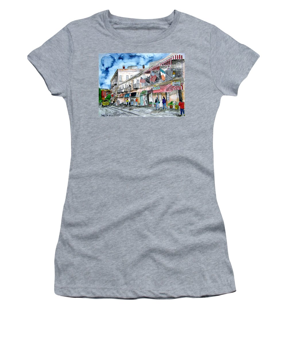 Pen And Ink Women's T-Shirt (Athletic Fit) featuring the painting Savannah Georgia River Street by Derek Mccrea