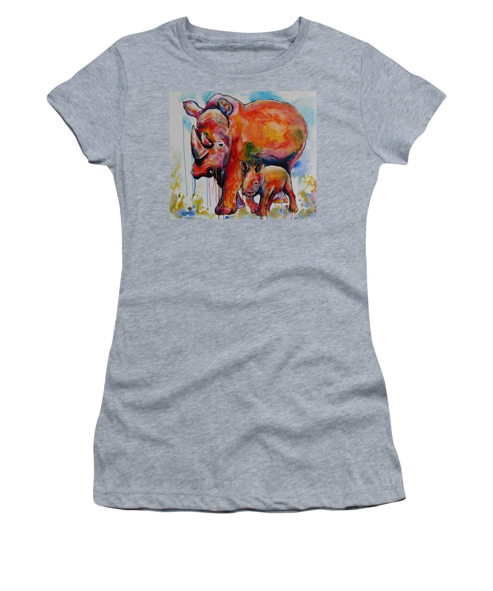 Rhino Women's T-Shirt (Athletic Fit) featuring the painting Save The Rhinos by Artwork Only