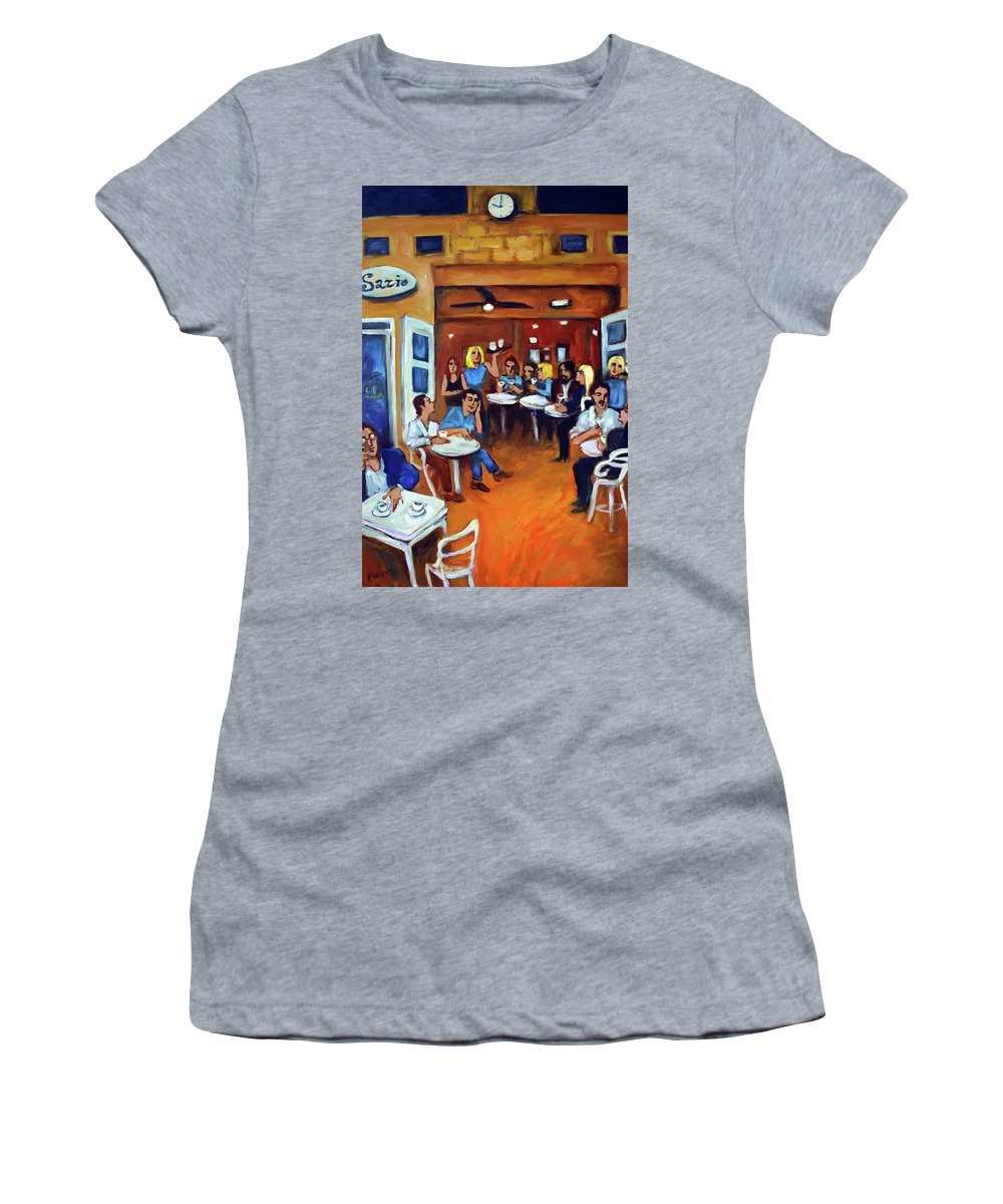 Sidewalk Cafe Women's T-Shirt (Athletic Fit) featuring the painting Sazio by Valerie Vescovi