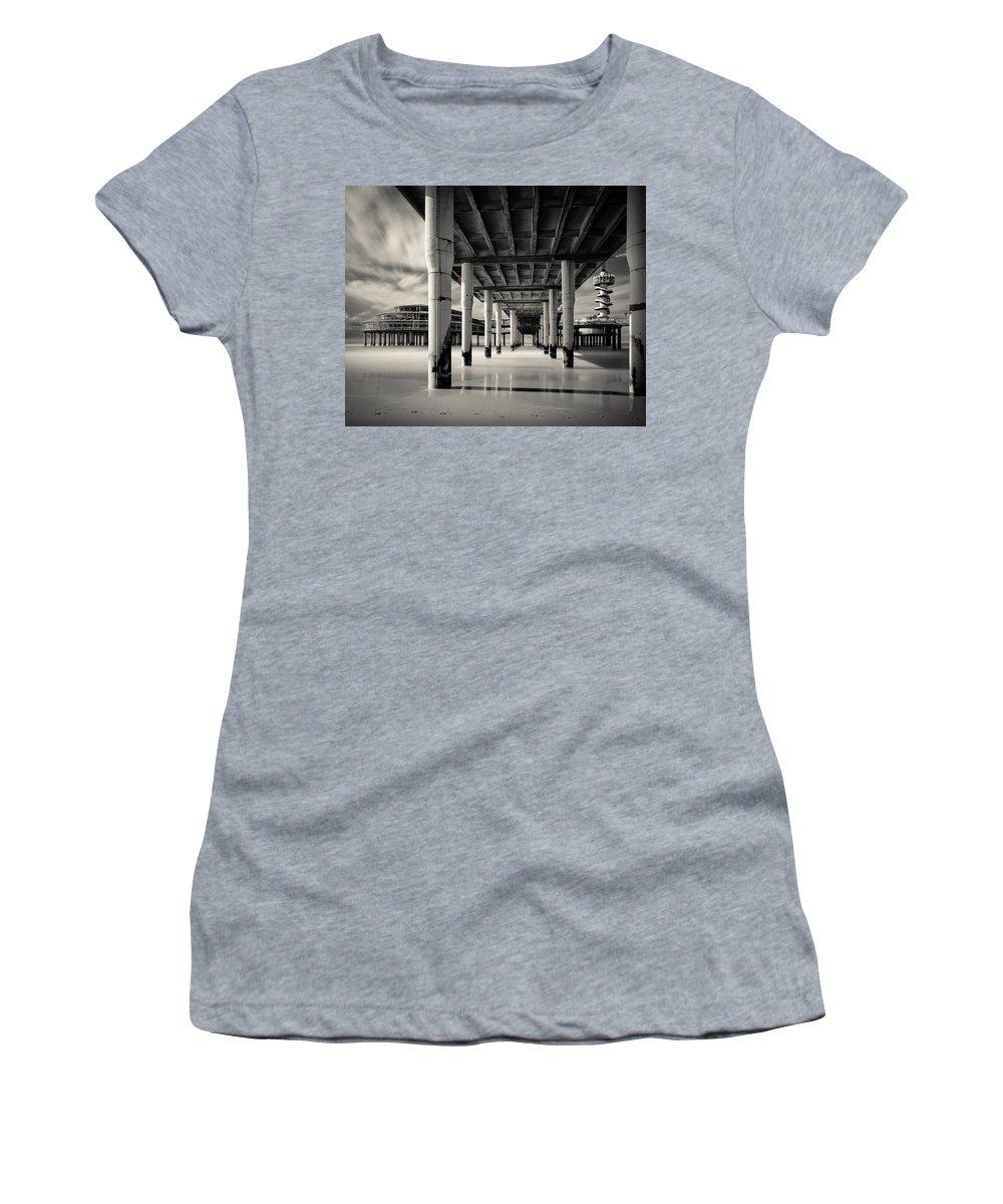 Scheveningen Pier Women's T-Shirt featuring the photograph Scheveningen Pier 3 by Dave Bowman