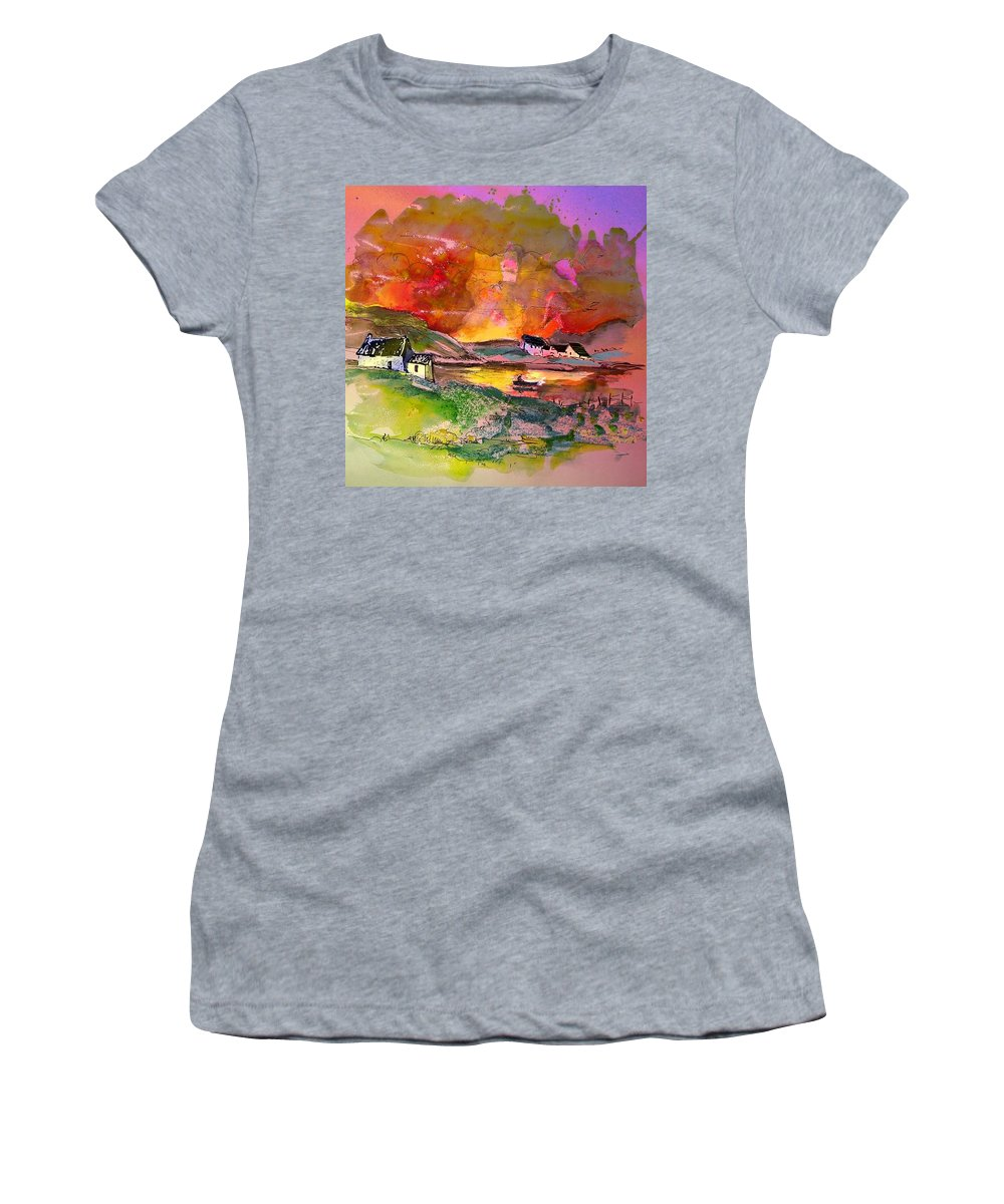 Scotland Paintings Women's T-Shirt (Athletic Fit) featuring the painting Scotland 07 by Miki De Goodaboom