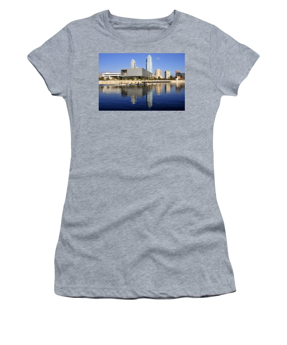Tampa Bay Florida Women's T-Shirt (Athletic Fit) featuring the photograph Sculling By The Tampa Bay Art Center by David Lee Thompson
