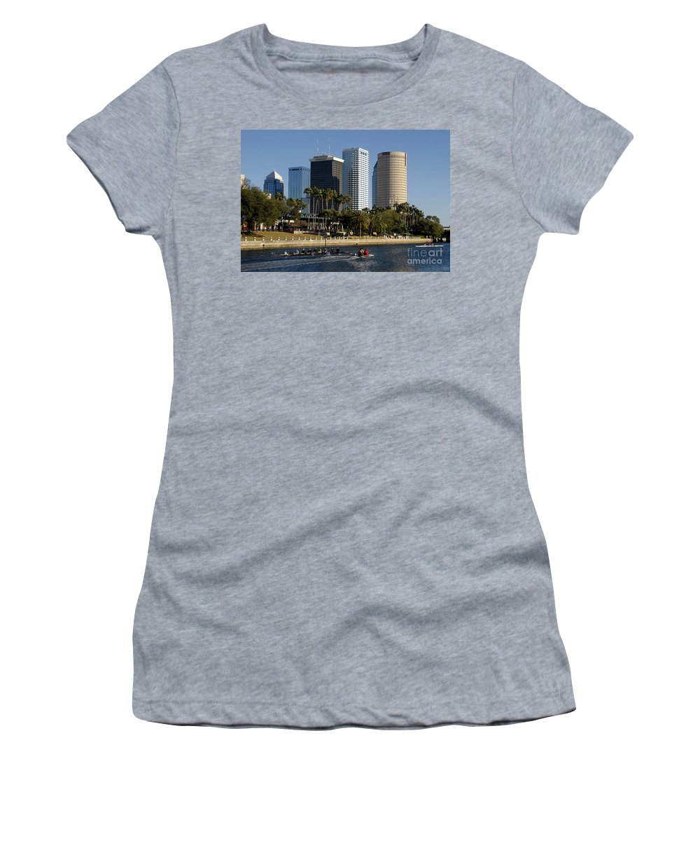Sculling Women's T-Shirt (Athletic Fit) featuring the photograph Sculling In Tampa Bay Florida by David Lee Thompson