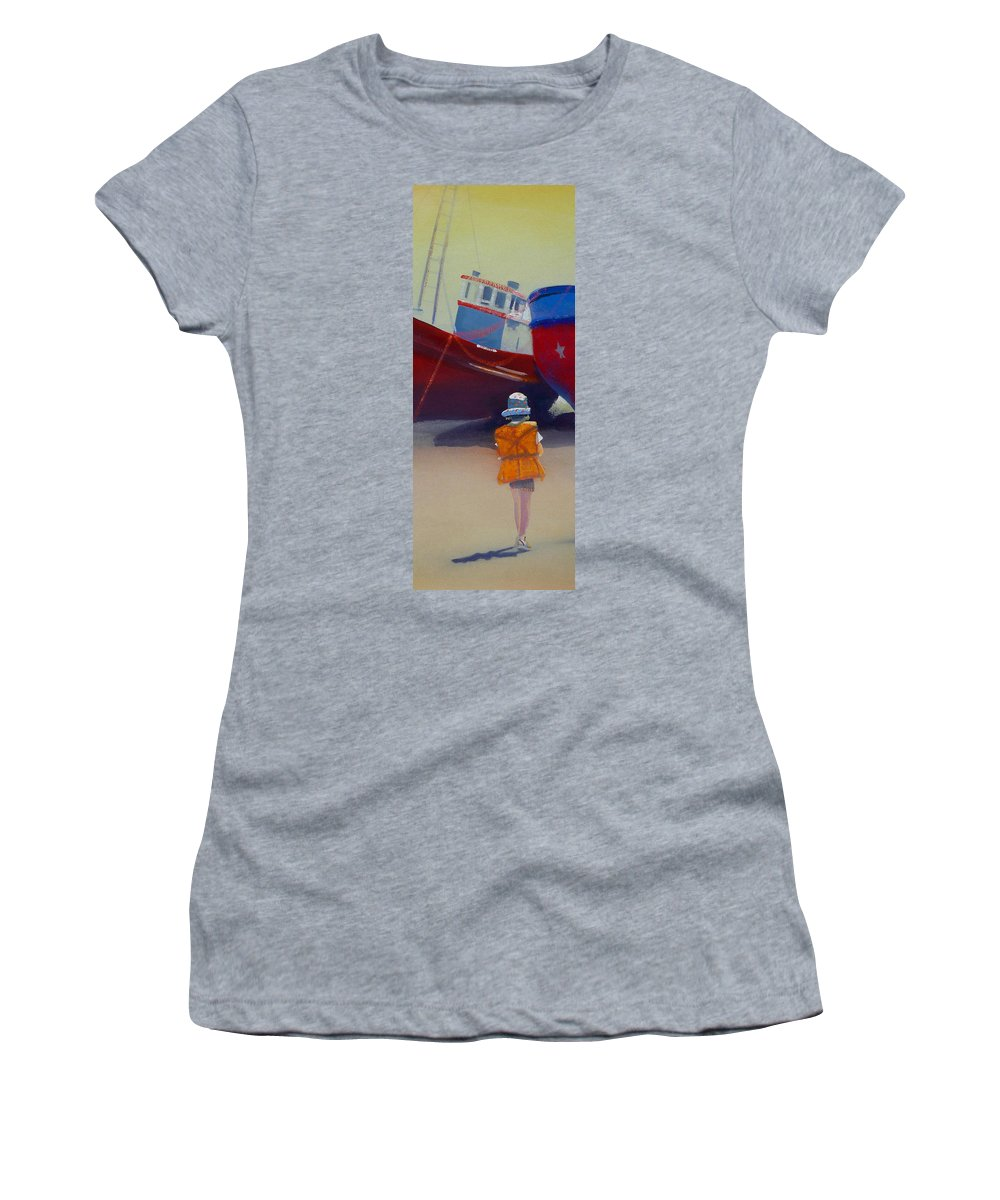 Dreamscape Women's T-Shirt (Athletic Fit) featuring the painting Sea Dreamer by Charles Stuart