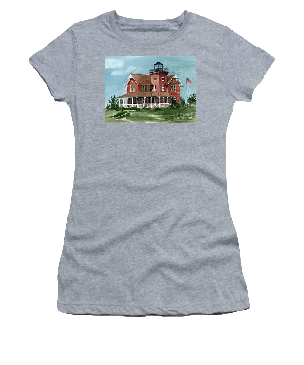 Watercolor Women's T-Shirt (Athletic Fit) featuring the painting Sea Girt Lighthouse by Nancy Patterson
