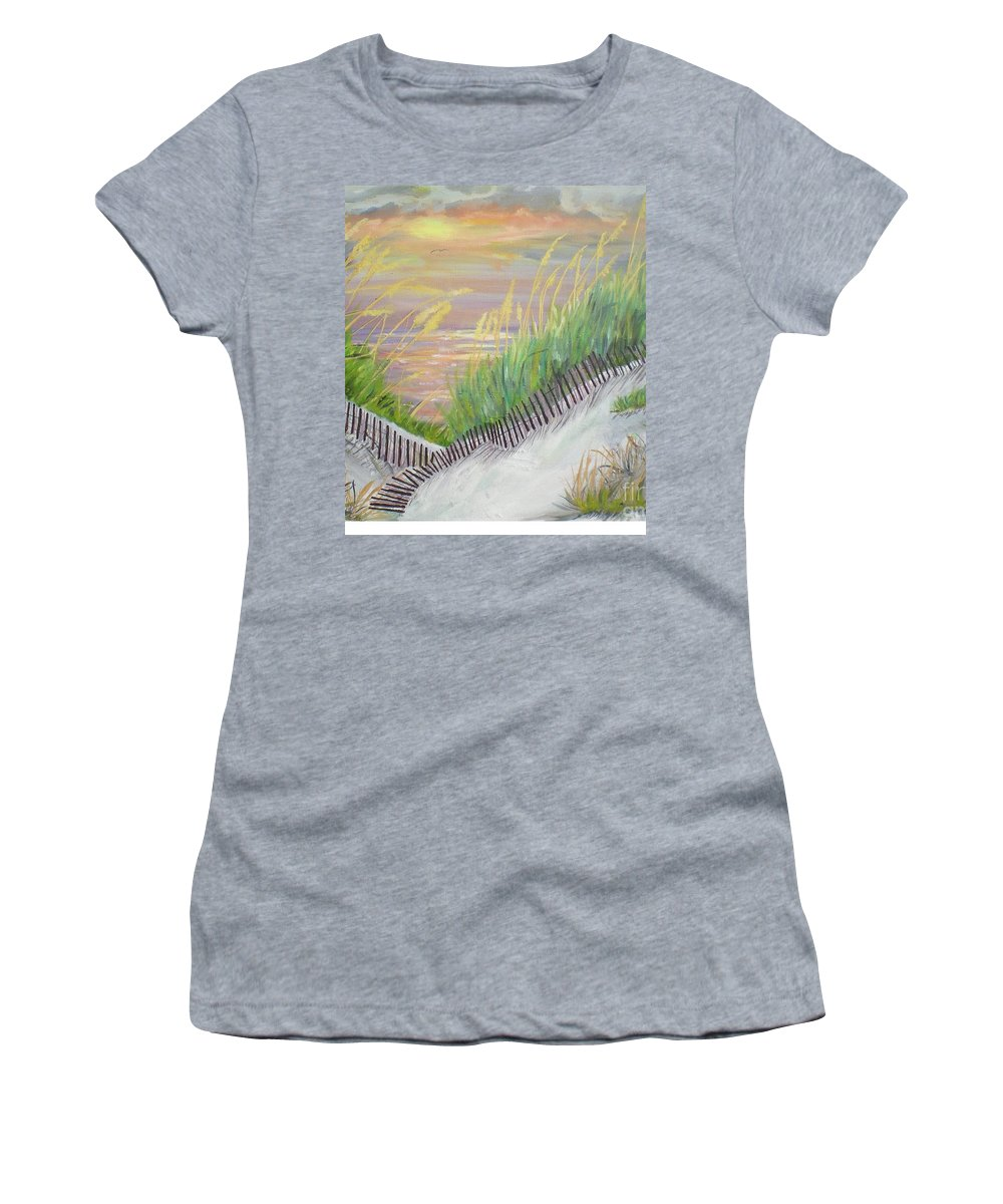 Seascape Women's T-Shirt (Athletic Fit) featuring the painting Sea Oats by Hal Newhouser