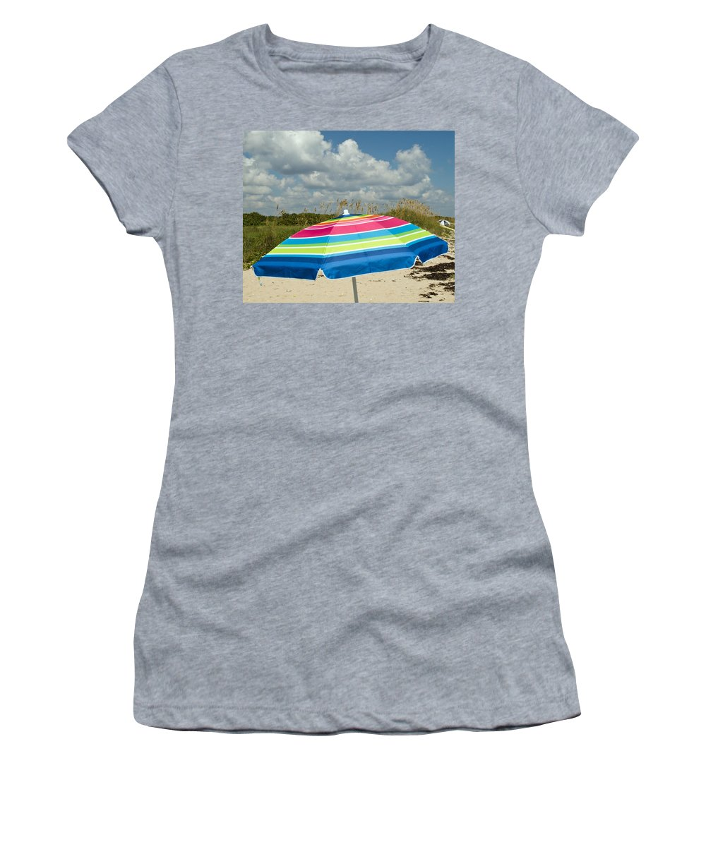 Florida; Beach; Coast; Shore; Atlantic; East; Waves; Sand; Dunes; Sea; Oats; Seaoats; Plant; Grass; Women's T-Shirt (Athletic Fit) featuring the photograph Sea Oats On The Beach by Allan Hughes